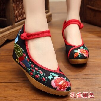 Old Beijing female Chinese clothing shoes cloth shoes (Red Tail Peacock black)