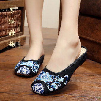 Old Beijing Summer New style slippers female cloth shoes (Lotus slippers black)