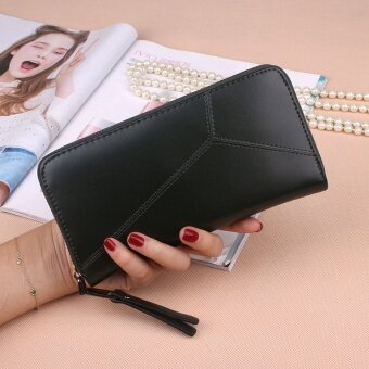 PHOEBE PU Leather Women Wallets Women Clutches Zipper Long Purses Card Holder Lady Coin Purse-black