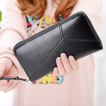 PHOEBE PU Leather Women Wallets Women Clutches Zipper Long Purses Card Holder Lady Coin Purse-navy green