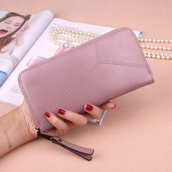 PHOEBE PU Leather Women Wallets Women Clutches Zipper Long Purses Card Holder Lady Coin Purse-pink
