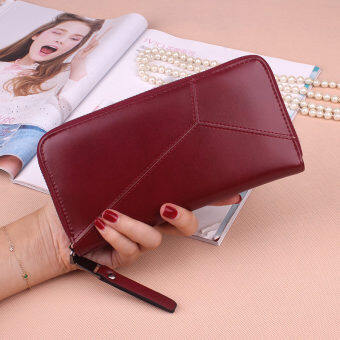 PHOEBE PU Leather Women Wallets Women Clutches Zipper Long Purses Card Holder Lady Coin Purse-wine red
