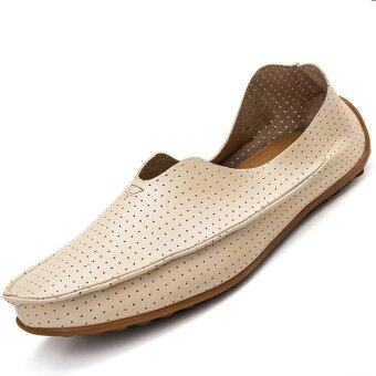 PINSV Leather Men's Flats Shoes Breathable Casual Loafers Slip-On (Beige)