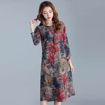 Plus Size Popular Fashion Cotton Pattern Dress - Red
