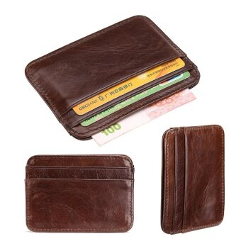 Portable Leather Coin Holders Card Holders Convenient CowhideWallet Small Purse Card Package Men Wallet Business Purse Coin BagsBurses Decent Strap Wallet