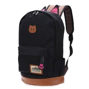 Preppy Style Portable School Backpack Zipper Buckle Girl(Black ...
