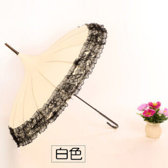 Princess bone double lace pagoda umbrella (Beige)