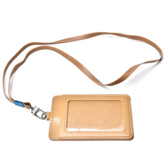 PU Leather Id Holders Case Business Badge Card Holder with NecklaceLanyard Brown