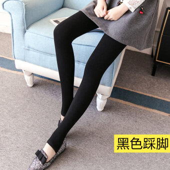 Qiudong female thick outerwear Plus-sized warm pants Plus velvet bottoming pants (Black stepping)