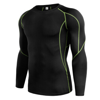 Qiudong men running fitness room slim fit clothing fitness clothing (B5030-black and green)