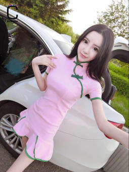 Retro elegant Slim fit dress plate buttons Cheongsam (Pink) (Pink)