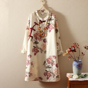 Retro Linen New style Plate buttons dress