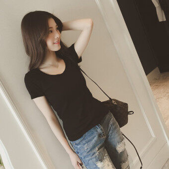 Round Neck New style Slim fit Slimming effect letter Korean-stylewhite T-shirt (5135 black)