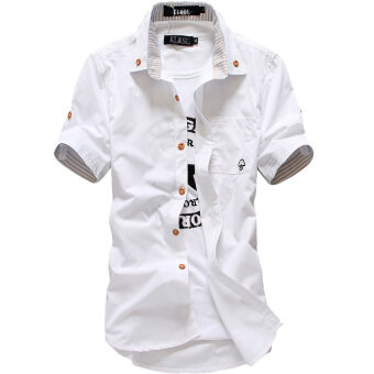 Short-sleeved shirt men's 2017 spring and summer Korean-style Slimfit casual small mushroom shirt Short sleeve Teenager men's tide(Short-sleeved CS282 white)