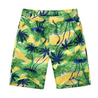 Shorts men summer 5 in five sports pants Plus-sized swimming pantsloose couple beach pants casual big pants tide (Beach pants greencoconut tree)