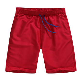 Shorts men summer 5 in five sports pants Plus-sized swimming pantsloose couple beach pants casual big pants tide (Beach pants red)