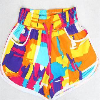 Shorts men summer 5 in five sports pants Plus-sized swimming pantsloose couple beach pants casual big pants tide (Female color widewaist)