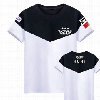 SKT men and women couple's short sleeved summer men's T-shirt team jersey (Huni)
