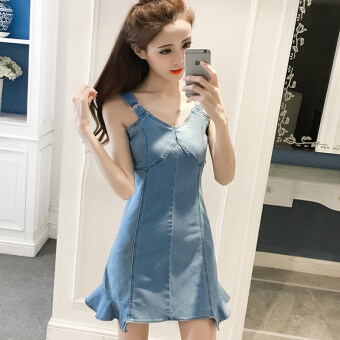 Slim fit V-neck lotus leaf edge sleeveless denim skirt dress