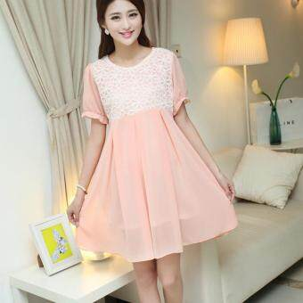 Small Wow Maternity Daily Round Stitching Contrast Color chiffonAbove Knee Dress Pink