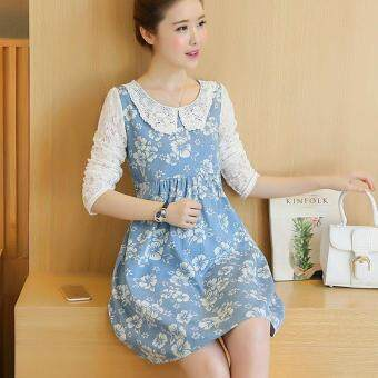 Small Wow Maternity Elegant Doll Collar Print Lace Loose Above KneeDress Blue