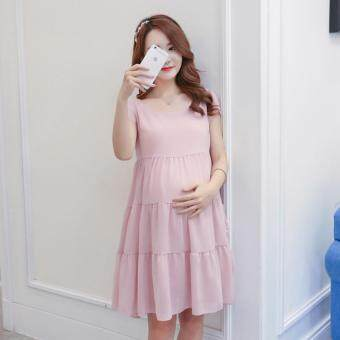Small Wow Maternity Fashion Round Solid Color chiffon Above KneeDress Pink
