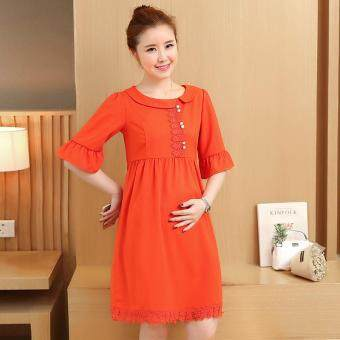 Small Wow Maternity Korean Round Solid Color Linen Loose Above Knee Dress Orange