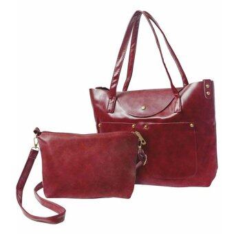 SoKaNo Trendz Classic Fashion PU Leather Set of 2 Tote Bag- Wine Red