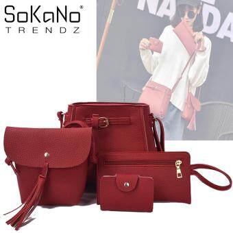 SoKaNo Trendz Korean Style SKN831 PU Leather Tote Bag Set of 4 - Red