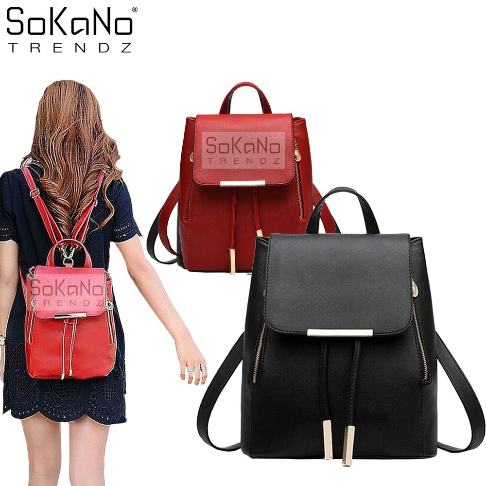 SoKaNo Trendz SKN733 Korean Style 2 Way PU Leather Backpack ...