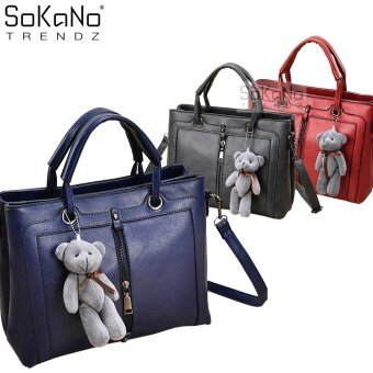 SoKaNo Trendz SKN812 Premium PU Leather Top Handle Bag With Cutie Bear Keychain- Blue