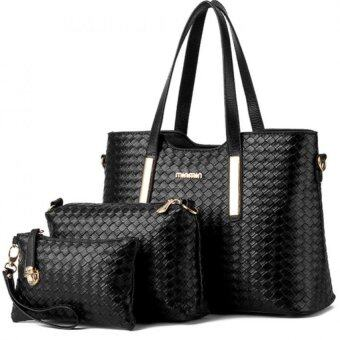 SoKaNo Trendz SKN819 Elegant Knitted PU Leather Bags (Set of 3)- Black