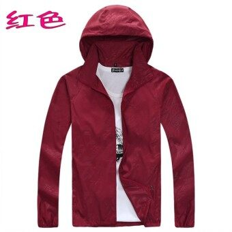 Spring and summer sun protection clothing for men and women skinclothing couple models thin Plus-sized long-sleeved sports coatcustom logo jacket (Red)