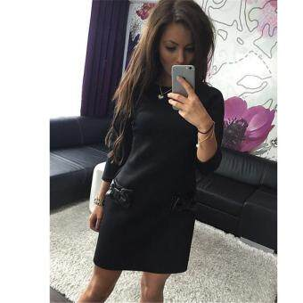 Spring Fashion Bowknot Dress Half Sleeve Mini Dress Women's Fashion Party Dress Straight Dress Elegant Dress Loose Dress Casual Dress