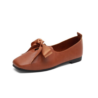 Square head flat shallow mouth shoes Female Summer 2017 New style Korean-style retro Butterfly knot peas shoes comfortable shoes (Brown)