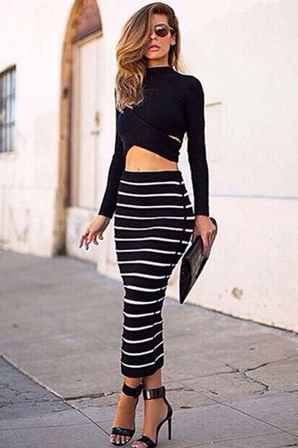 Striped Bodycon Dress Crop Top   Long Skirt Set (Black) | Lazada ...