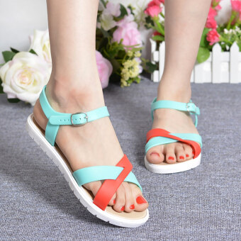 Student sandals Female Summer flat Korean-style tide Spell colorsimple word buckle fashion wild soft bottom open-toed beach shoes(Green)
