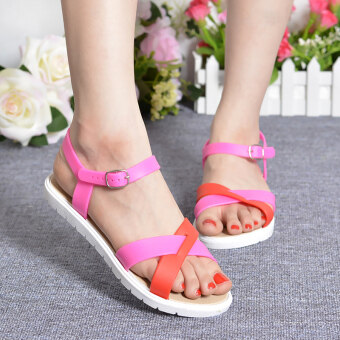 Student sandals Female Summer flat Korean-style tide Spell colorsimple word buckle fashion wild soft bottom open-toed beach shoes(Red)