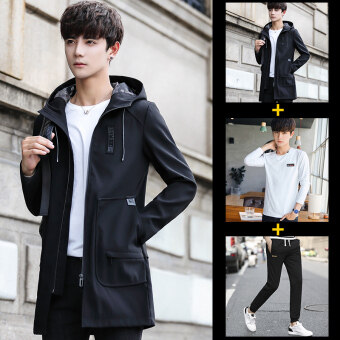 Stylish New style Spring and Autumn New style jacket men's jacket (Black)