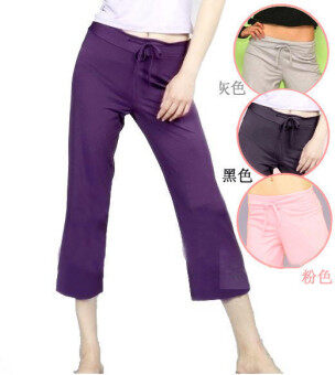 Summer New style lace Fitness Exercise clothes 7 points pants female modal yoga pants sports gym pants Multi-Function (Purple (Modal))