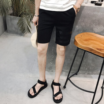Summer Sports five pants men's shorts boys casual seven points pants summer beach pants big pants thin male tide (Black)