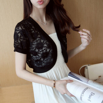 Summer thin New style short sleeved sun protection clothing short small shawl (Five Flower flower black)