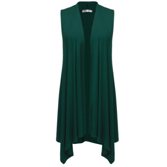 Sunweb Meaneor Women Sleeveless Asymetric Hem Open Front SolidCardigan Coat ( Green )
