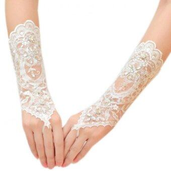 The Bride Flowers Diamond Wedding Gloves
