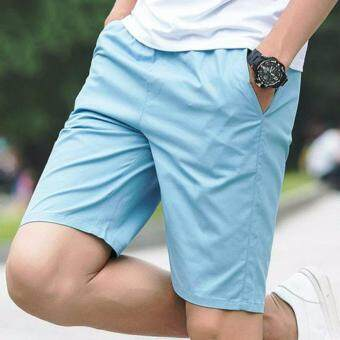 The Five Summer Sports Pants Men's Casual Pants Shorts Lovers Summer Beach Pants (Light Blue)