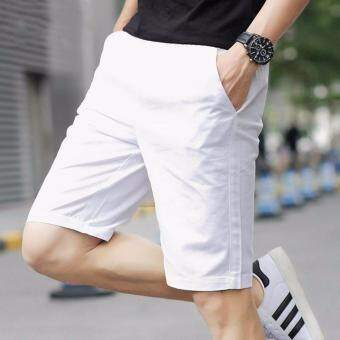 The Five Summer Sports Pants Men's Casual Pants Shorts Lovers Summer Beach Pants (White)