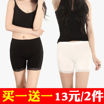 Three points modal anti-female summer shorts lace Safety pants (Black lace + white lace) (Black lace + white lace)