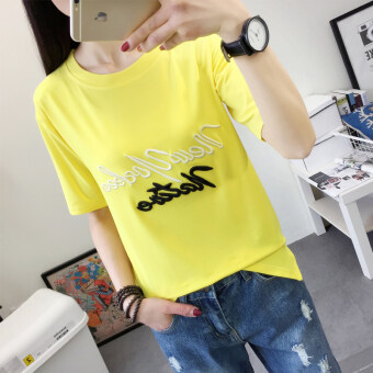 Ulzzang Korean version of embroidered women's short sleeved Short sleeve Top T-shirt (Yellow) (Yellow)