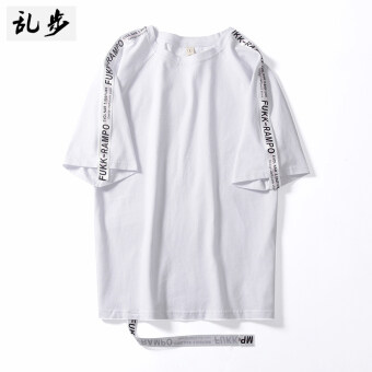 Ulzzang Korean version of the ribbon summer wind Short sleeve Top T-shirt (White Ribbon short sleeved white)