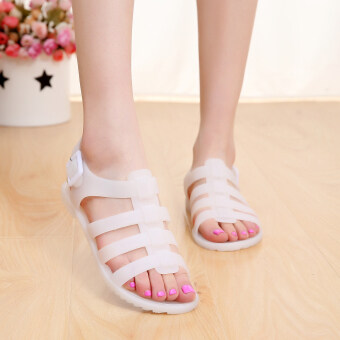US jelly shoes plastic flat sandals female plastic Roman rubberboots with flat student beach shoes tide (White)